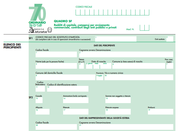 dichiarazione modello 770 2015